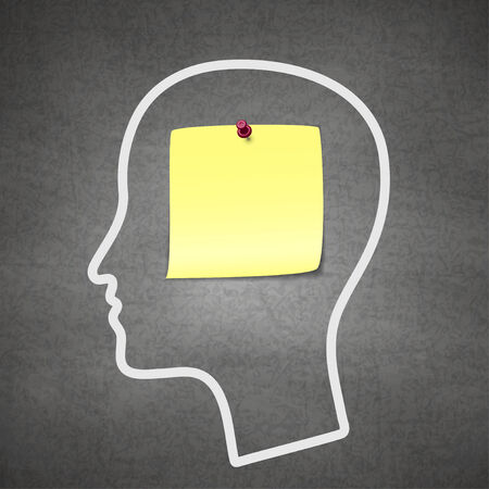 memory loss: Head notes with a blank yellow paper note as a business reminder as a to do list.