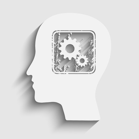 Human head silhouette with gears icon as a brain - idea and innovation concept Vector
