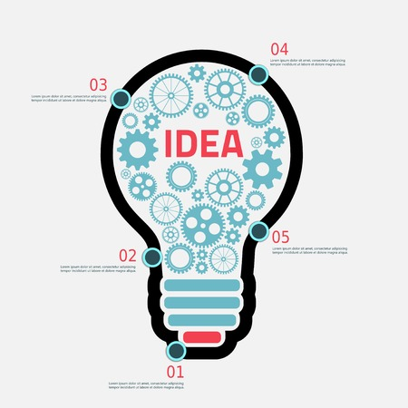 cog gear: light Bulb with gears and cogs working together, concept infographic background Illustration