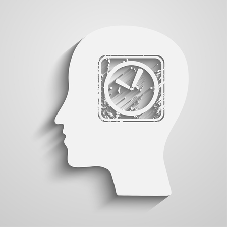 Human Head with a clock icon Vector