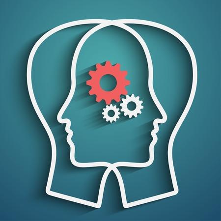 Tête humaine avec jeu d'engrenages comme un symbole travail du cerveau Banque d'images - 29829789