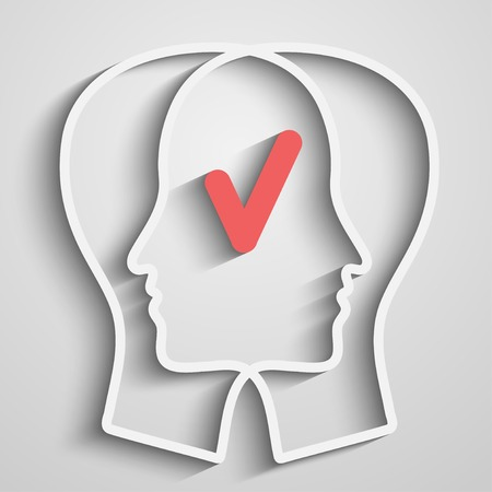 head with agree sign Illustration