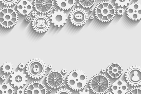 gears with icons inside, add friend, bubble, lock and other