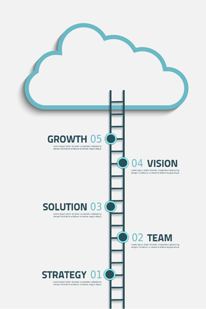 Infographic steps illustration with cloud and stairs  Vector