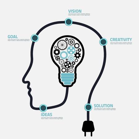頭と電球のインフォ グラフィック テンプレート  イラスト・ベクター素材