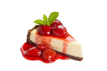 白地にイチゴのチーズケーキ 写真素材 - 29829985