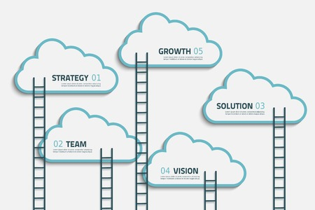 Infographic steps illustration with cloud and stairs