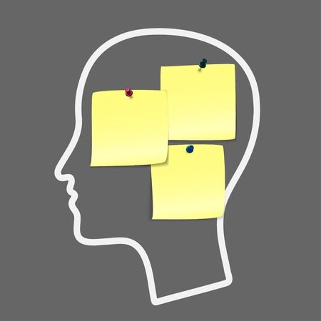 brain storm: Head notes with a blank yellow paper note as a business reminder as a to do list