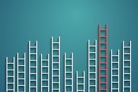 ladders on wall ,competition concept
