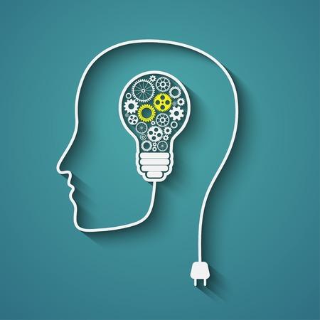 Human head creating a new idea  Creative Idea  vector