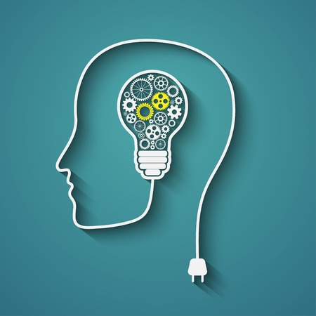 Human head creating a new idea  Creative Idea  vector