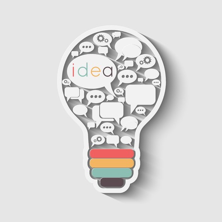 bulb with bubble speech, an idea concept, vector illustration Çizim