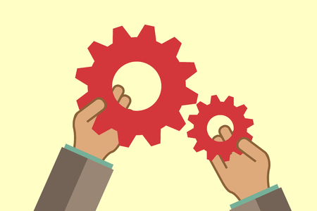 creating: teamwork concept with hands and gears, retro style  vector Illustration