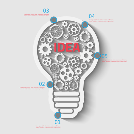 light Bulb with gears and cogs working together, concept infographic background Иллюстрация