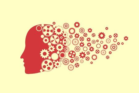 gear head: Human head silhouette with set of gears as a brain  Fly Dreams    Illustration