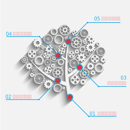 Business growth concept, creative tree with gears  Vector
