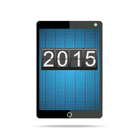 2015 on Tablet PC display over matrix background  Happy New Year with departures style Vector