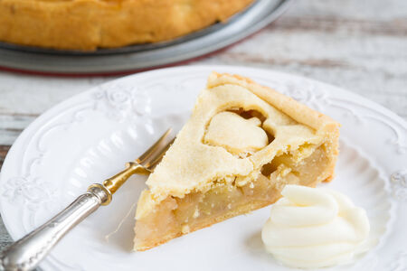 Apple pie on plate as a background photo