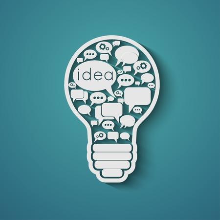 bulb with bubble speech, an idea concept Vector