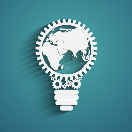 light bulb with gears and cogs working together, idea concept, global connection concept Vector