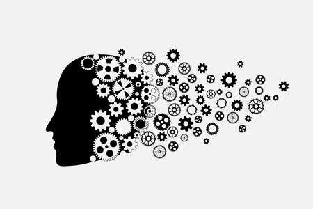 Human head silhouette with set of gears as a brain.  Vector