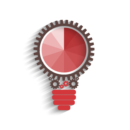 cogs and gears: light bulb with gears and cogs working together, idea concept Illustration