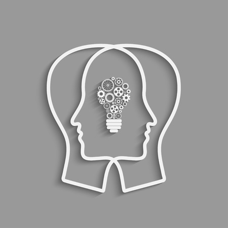 Human head  with set of gears as a bulb, symbol work of brain