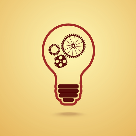 mechanical energy: light bulb with gears and cogs working together Illustration