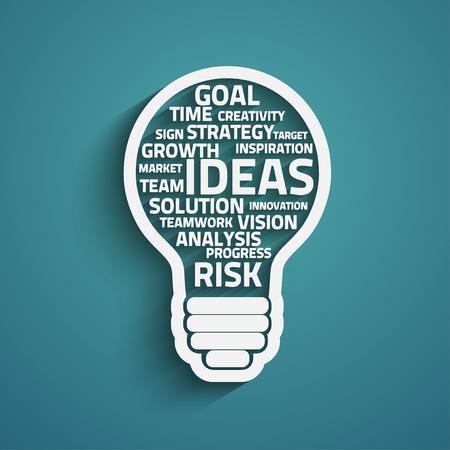 ampoule concept d'affaires réalisé avec des mots. Vecteur Eps10