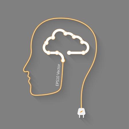 logica: cabeza con la nube como un cerebro, concepto idea vector eps10