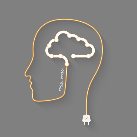 brain storm: head with cloud as a brain, idea eps10 vector concept