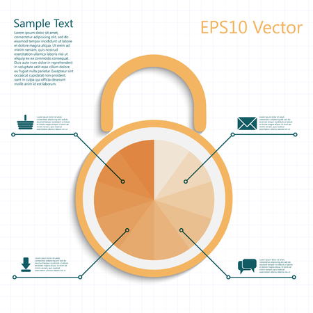 infographic padlock with business steps as a code, protect your mail, purchase, download and talks Vector