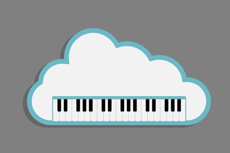 cloud music, Piano Keyboard with cloud as a concept online music storage, eps10 retro style vector illustration Vector