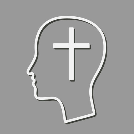 theology: head with cross as a symbol of christian mind