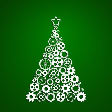 groene boom: Kerstboom gemaakt van tandwielen set, eps10 vector Stock Illustratie