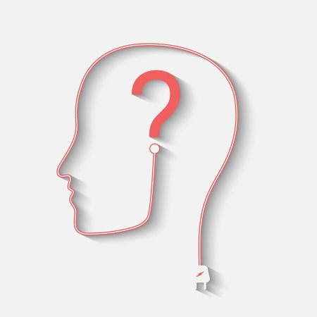 Male silhouette with question mark on the head - vector icon Vettoriali