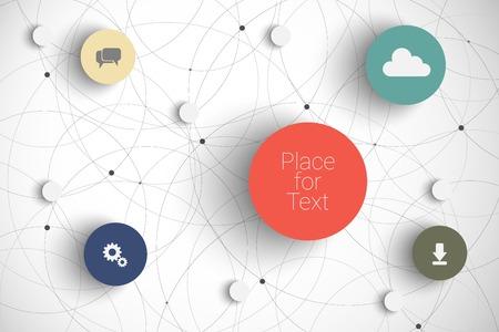 あなたの内容のための場所とベクトル抽象的なインフォ グラフィック ネットワーク テンプレート