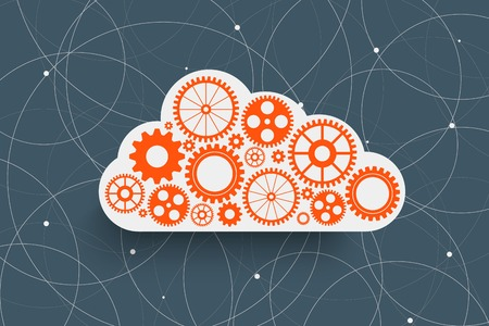 cloud with gears on creative rounds background
