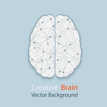 創造的な脳のベクトルの背景、人間の思考のプロセスの複雑さのイラスト