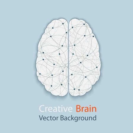Creative brain vector background, illustration of the complexity of the process of human thinking Vettoriali