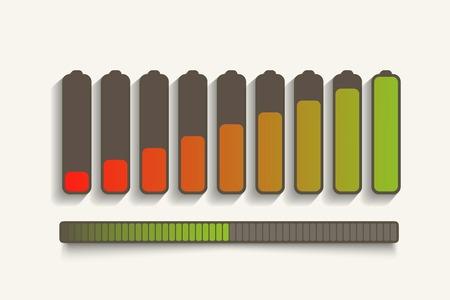 status: Battery charge status. Illustration