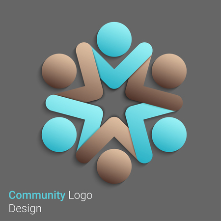 Team Partners Friends icon design vector template.  Иллюстрация