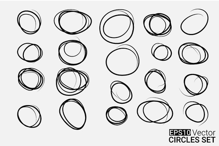 circle frame: Hand drawn circles set for your design, vector