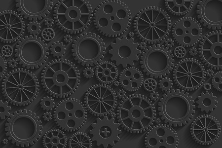 Creative black gears background. Eps10 vector for your design. Vector