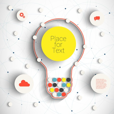graphic: Modern Business Concept , Info Graphic Elements. Idea Lightbulb with many Solutions.