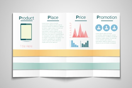 4P marketing brochure template - price, product, promotion and place Vector