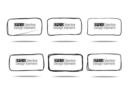 Hand drawn rectanglew with rounded corners set for your design, Eps10 vector