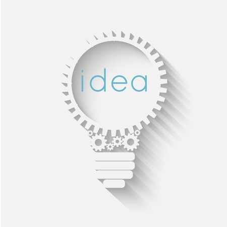 light bulb with gears and cogs working together, idea concept Vettoriali