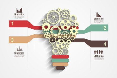 thinking machines: Light bulb with gears as a infographic, Eps10 Vector for your design