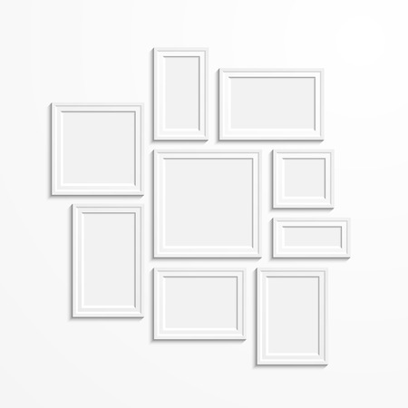 vintage photo frame: White rectangular photo frame with shadow on a wall.  Eps10 Vector illustration for your design